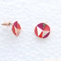 Puces d'oreilles géométrique ronde coloré sur monture en métal argenté